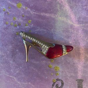 Vintage Red High Heel Brooch